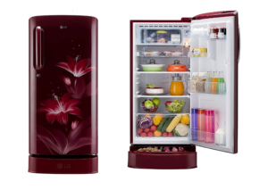 LG 190 L 4 Star Inverter Direct-Cool Single Door Refrigerator (GL-D201ARGY, Ruby Glow, Base