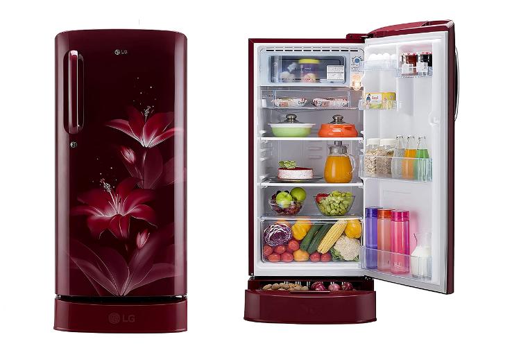 LG 190 L 4 Star Inverter Direct-Cool Single Door Refrigerator (GL-D201ARGY, Ruby Glow, Base