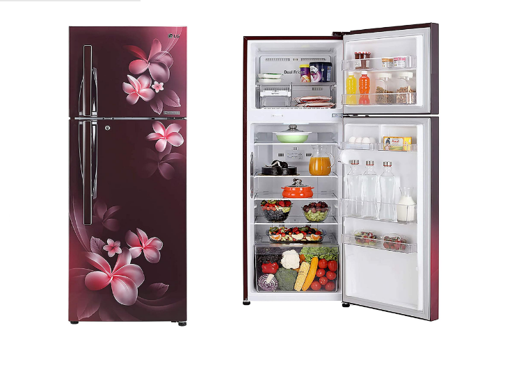 LG 284 L 3 Star Inverter Linear Frost-Free Double-Door Refrigerator (GL-T302RSPN, Scarlet Plumeria, Convertible)
