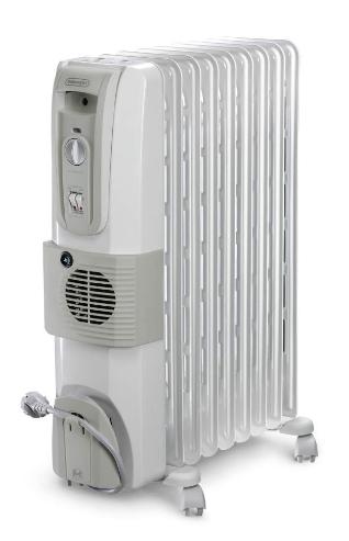De'Longhi 12 Fin Oil Filled Radiator Room Heater with Fan 3000W (White)
